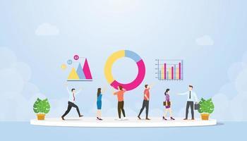 analyse des données avec l'équipe et les personnes évaluer analyser les informations vecteur