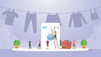 machine à laver à la mode avec des gens qui travaillent pour nettoyer vecteur