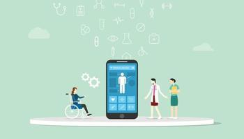 applications mobiles consultation de médecin en ligne examen du dossier de santé du patient vecteur