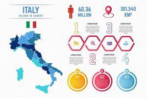 modèle d'infographie de carte italie colorée vecteur