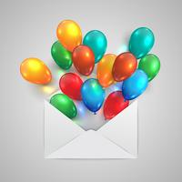 Une enveloppe avec des ballons colorés, vector