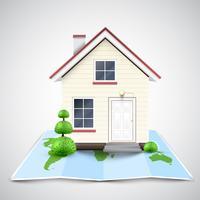 Maison sur une carte, vector