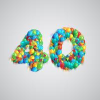Nombre de ballons colorés, vecteur