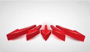 Flèches rouges réalistes 3D, vector