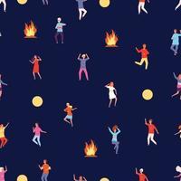 modèle de fête sur la nature, le feu et le modèle sans couture heureux garçon fille vecteur