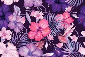 motif de fleurs d'hibiscus peint à l'aquarelle 2 vecteur