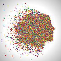 Visage faite de points colorés, vecteur