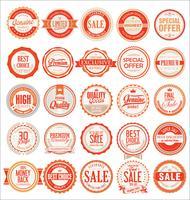 Collection de badges et étiquettes vintage rétro vecteur