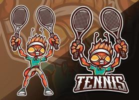 mascotte d'insecte de fourmi avec illustration de sport de raquettes de tennis vecteur