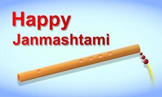 joyeux janmashtami. fête indienne traditionnelle. flûte vecteur