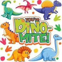 personnage de dessin animé mignon de dinosaures avec votre bannière de police dino mite vecteur