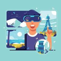 voyage de tourisme virtuel avec des lunettes vr vecteur