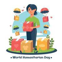 une femme fait un don lors de la journée mondiale de l'aide humanitaire vecteur