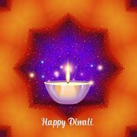 Diya brûlant en vacances de Diwali sur fond géométrique.