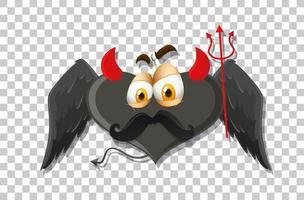 diable en forme de coeur avec expression faciale vecteur