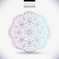 Réseau géométrique abstrait, la portée des molécules, les molécules dans le cercle.