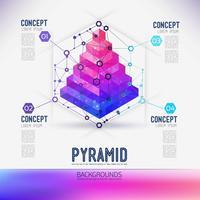 Pyramide géométrique concept abstrait, la portée des molécules, dans l'hexagone.