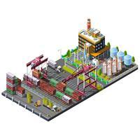 Vecteur sertie de grues de construction industrielle sur le chemin de fer