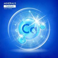 minéraux calcium pour la santé. capsule avec des minéraux bleus, médicaux. vecteur
