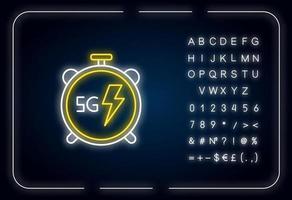Icône de néon chronomètre 5g vecteur