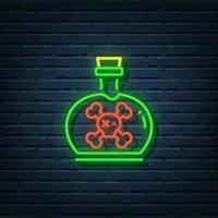 enseigne au néon de bouteille de poison vecteur
