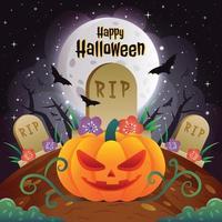joyeux halloween avec un modèle de fond de citrouille vecteur