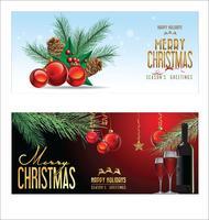 Boules de Noël fond rouge avec des décorations vecteur