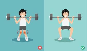 posture accroupie mauvaise et droite masculine, illustration vecteur