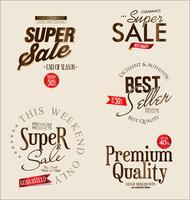Collection de vecteurs étiquettes vintage rétro super vente vecteur