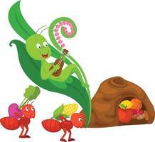 illustration de la fourmi isolée et du conte de fées sauterelle vecteur