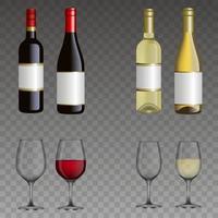 ensemble de bouteilles de vin et de verres isolés. vin rouge et blanc. vecteur