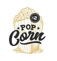 emblème rétro pop corn vecteur