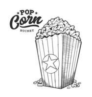 emblème rétro pop corn noir et blanc vecteur