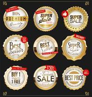 Collection de badges et étiquettes doré vintage rétro vecteur
