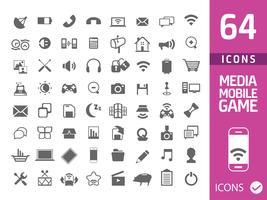 ensemble de 64 icônes médiatiques isolés sur blanc vecteur