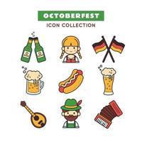 jeu d'icônes de la fête de la bière oktoberfest vecteur
