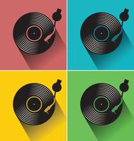 Disque vinyle noir disque illustration vectorielle concept plat