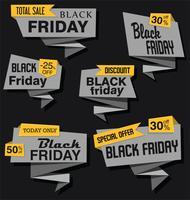Collection d'autocollants et d'étiquettes modernes en origami noires vendredi vecteur
