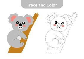 trace et couleur pour les enfants, vecteur de koala