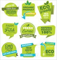 Autocollants et étiquettes modernes ECO et NATURAL pour vente, collection verte vecteur