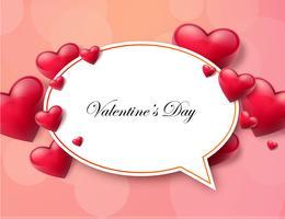Fond de Valentin avec zone de texte et beaux coeurs. Illustration vectorielle