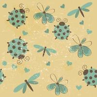 modèle sans couture romantique avec des libellules, des coccinelles, des coeurs, des fleurs vecteur