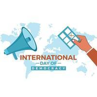 Journée internationale de la démocratie, un grand orateur fait campagne vecteur