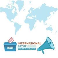 Journée internationale de la démocratie il y a des orateurs et une urne vecteur