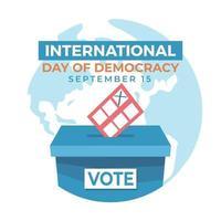 journée internationale de la démocratie il y a une urne et le monde vecteur