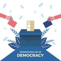 Journée internationale de la démocratie, le papier est chargé dans la boîte et là vecteur