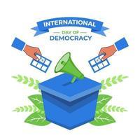 Journée internationale de la démocratie, il y avait un orateur et une main tenant vecteur