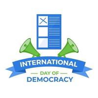 Journée internationale de la démocratie il y a deux orateurs et un bulletin de vote vecteur