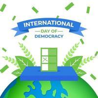 Journée internationale de la démocratie il y a une urne située dans le monde vecteur