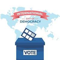 journée internationale de la démocratie il y a une boîte et une carte du monde vecteur